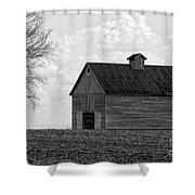 Barn And Tree In Black And White Shower Curtain