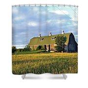Barn In A Golden Field Shower Curtain
