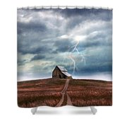 Barn In Lightning Storm Shower Curtain