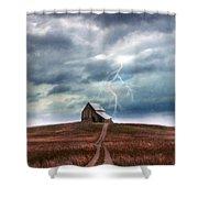 Barn In Lightning Storm Shower Curtain