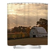 Barn In Warming Storm Shower Curtain by Randall Branham