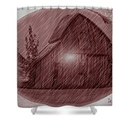 Barn Snow Globe Shower Curtain