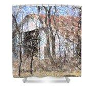 Barn Through Trees Shower Curtain
