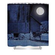 Barn Under A Full Moon Shower Curtain