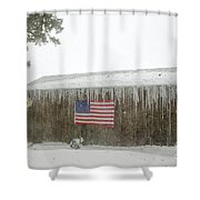 Barn With American Flag During Blizzard Of '05 On Cape Cod Shower Curtain