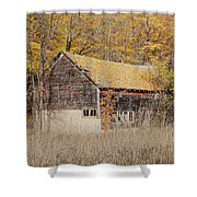 Barn With Autumn Leaves Shower Curtain