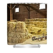 Barn With Hay Bales Shower Curtain