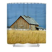 Barn With Stormy Skies Shower Curtain