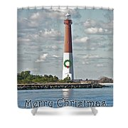 Barnegat Lighthouse - New Jersey - Christmas Card Shower Curtain