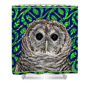 Barred Owl In A Fractal Tree Shower Curtain