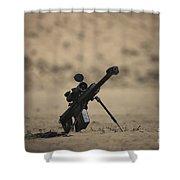 Barrett M82a1 Rifle Sits Ready Shower Curtain
