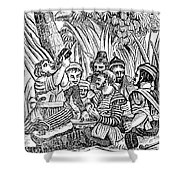 Bartholmew Roberts And Crew Drinking Shower Curtain by Photo Researchers