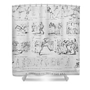 Baseball Cartoons, 1859 Shower Curtain