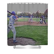 Baseball On Deck Digital Art Shower Curtain