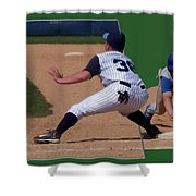 Baseball Pick Off Attempt 02 Shower Curtain by Thomas Woolworth