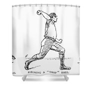 Baseball Pitching, 1889 Shower Curtain