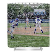 Baseball Runner Heading Home Digital Art Shower Curtain
