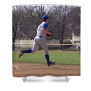 Baseball Step And Throw From Third Base Shower Curtain