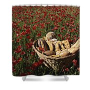 Basket Of Bread In A Poppy Field Shower Curtain