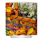 Basket Of Spring Flowers Shower Curtain
