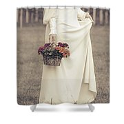 Basket With Flowers Shower Curtain