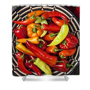Basketful Of Peppers Shower Curtain