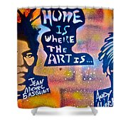 Basquait And Worhol Shower Curtain