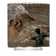 Bath Time In Laos Shower Curtain