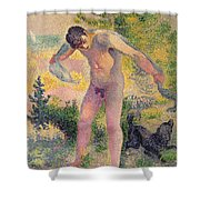 Bather Drying Himself At St Tropez Shower Curtain