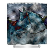 Battle Cloud - Horse Of War Shower Curtain