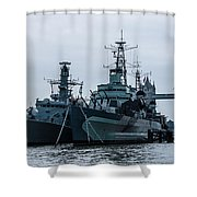 Battleship At Tower Bridge Shower Curtain