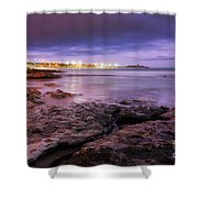 Beach At Dusk Shower Curtain by Carlos Caetano