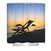 Beach Chair At Sunrise Shower Curtain