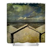 Beach Huts Under A Stormy Sky. Vintage-look. Normandy. France Shower Curtain
