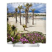 Beach In Puerto Banus Shower Curtain