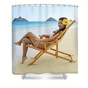 Beach Lounger Shower Curtain by Tomas del Amo