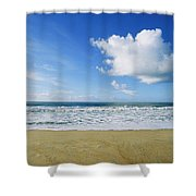 Beach, Ocean, Sky, And Clouds Shower Curtain