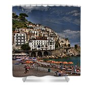 Beach Scene In Amalfi On The Amalfi Coast In Italy Shower Curtain