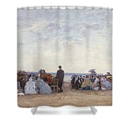 Beach Scene Near Trouville Shower Curtain by Eugene Louis Boudin