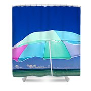 Beach Umbrella At The Shore Shower Curtain