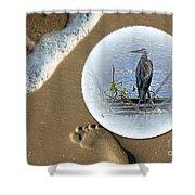 Beached Heron Shower Curtain