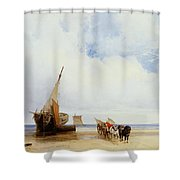 Beached Vessels And A Wagon Near Trouville Shower Curtain by Richard Parkes Bonington