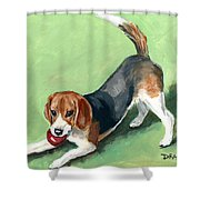 BEAGLE WITH RED BALL  PICTURE FRAME