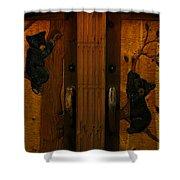 Bear Doors Carved Shower Curtain