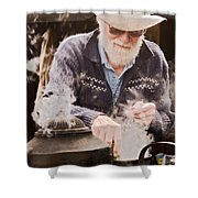 Bearded Miner Making Billy Tea Shower Curtain