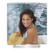 Beautiful Girl Boating Shower Curtain