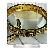 Beautiful Green And Purple Covered Gold Bangles With Semi-precious Stones Inlaid Shower Curtain