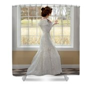 Beautiful Lady By Window Shower Curtain
