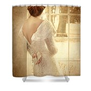 Beautiful Lady In Sequin Gown Looking Out Window Shower Curtain