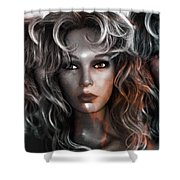 Surreal Female Fashion Mannequin Portrait Art Deco Shower Curtain